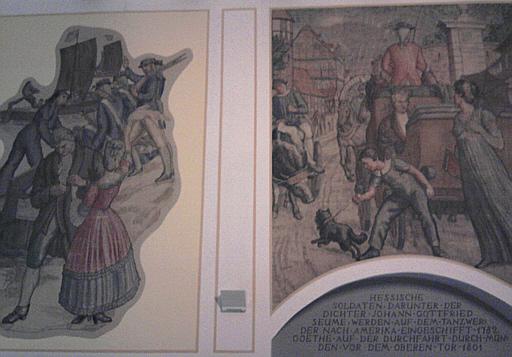 Hann. Münden, Rathauswandgemälde ca. der 1920er Jahre, das die Einschiffung hessischer Soldaten zeigt