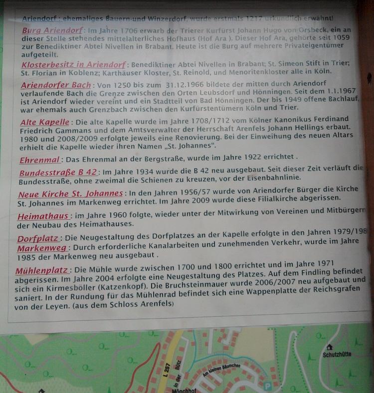 Ariendorf, historische Erklärtafel