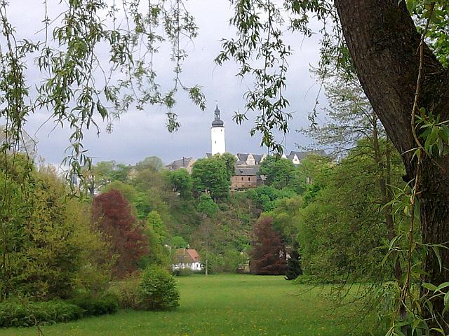 Greiz, Oberstadt mit Schlossturm vom Greizer Park (vor der Flut) aus