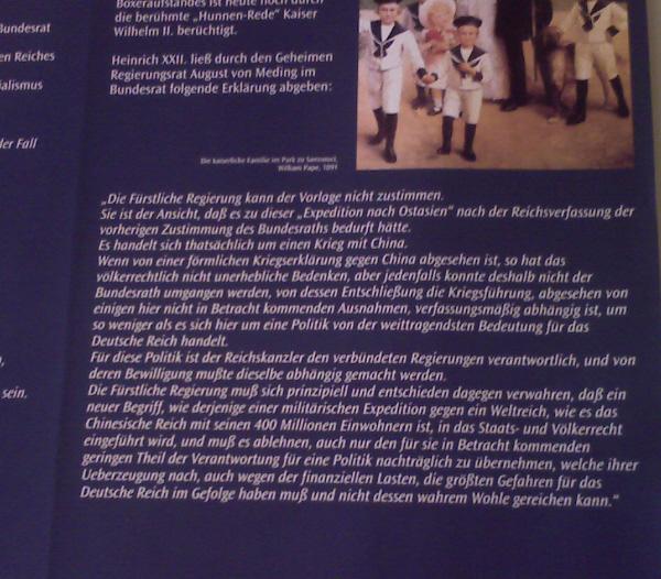 Greiz, was Heinrich XXII. im Bundesrat zum Krieg in China äußerte (Texttafel im unteren Schloss, Ausschnitt)