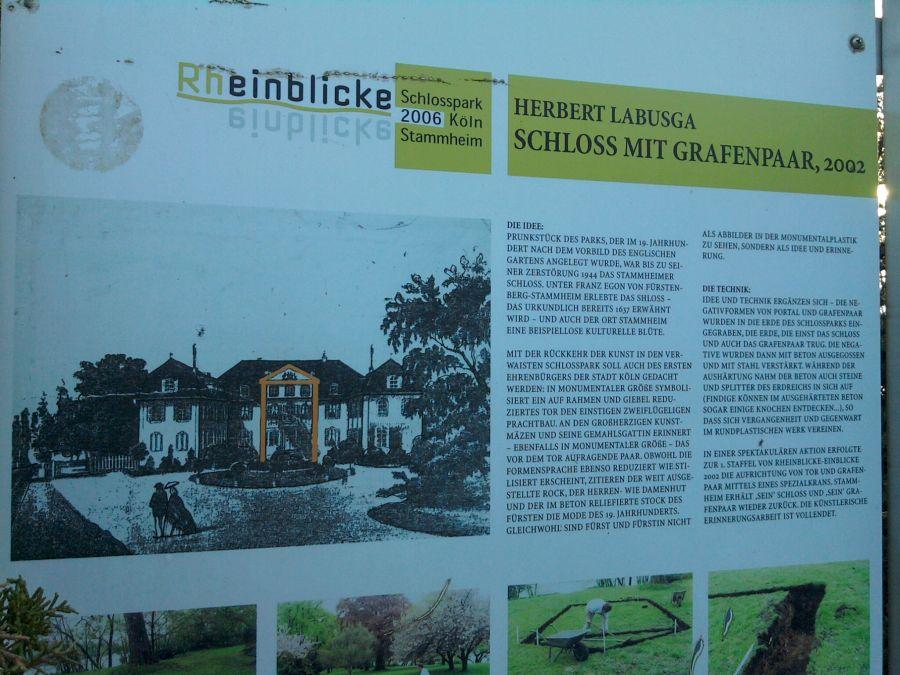 Köln-Stammheim, Texttafel zur Labusga-Plastik im Schlosspark