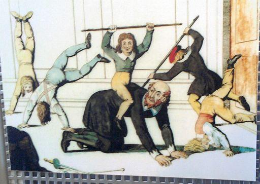 Freyburg, zeitgenössische Jahn-Karikatur im Jahn-Museum