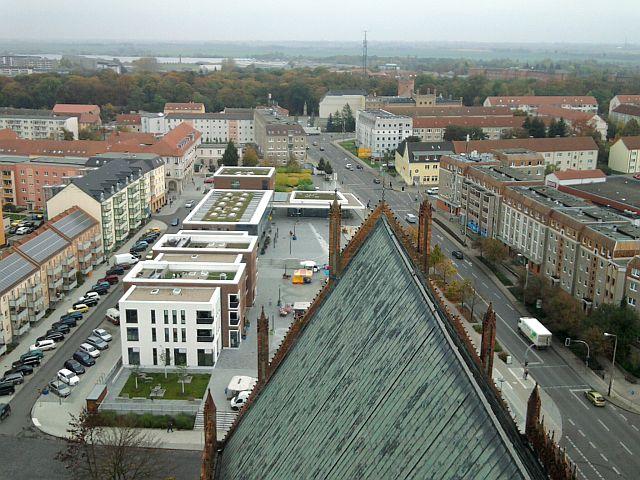 Prenzlau, Neue Mitte (oben vom Dom aus gesehen)