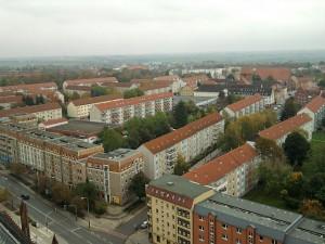 Prenzlau, Plattenbauten in der Stadtmitte (oben vom Dom aus gesehen)