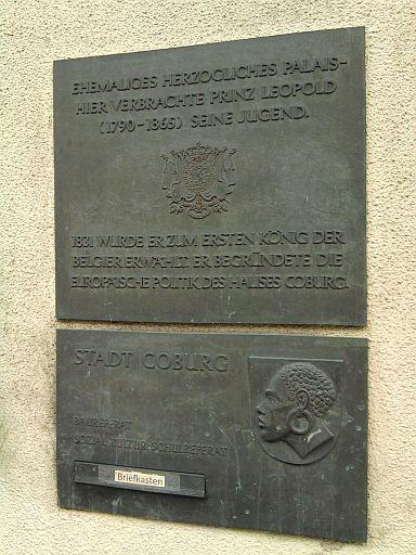 Coburg, Erinnerungstafel für Leopold von Belgien