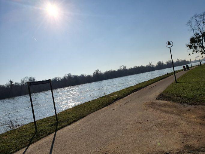 Ludwigshafen, Hannelore-Kohl-Promenade auf der Parkinsel am Rhein